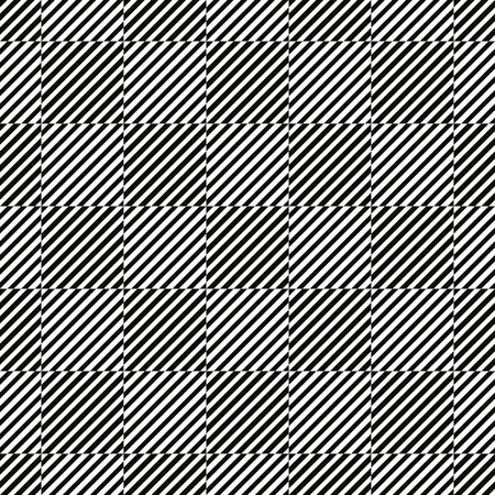 Lined squares seamless illusive pattern, black and white vector background.