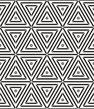 Geometric lines seamless pattern, black and white vector background. Vector