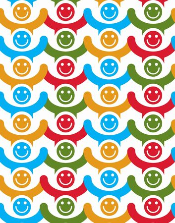 Seamless background with colorful smiley faces. People with positive emotions and holding their hands up continuous backdrop. Vector