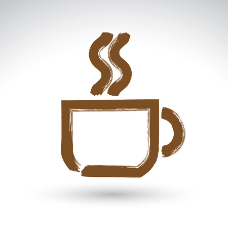 cafe sign: Hand drawn coffee cup icon, brush drawing cafe sign, vector illustration of a hand-painted teacup symbol isolated on white background. Illustration