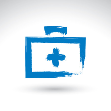 scanned: Brush drawing simple blue first aid kit, medicine icon, created with real hand drawn ink brush scanned and vectorized.