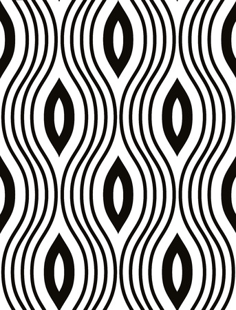 Waves seamless pattern, black and white vector background. Vector
