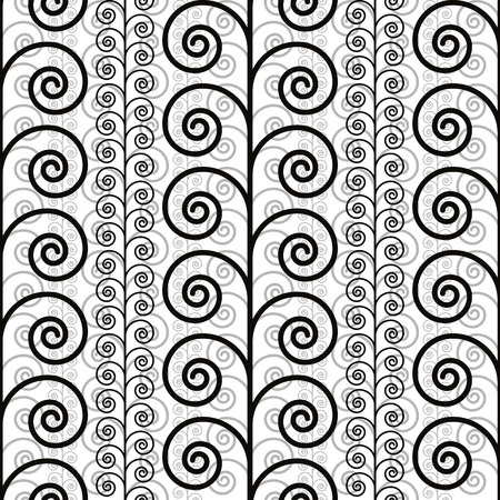 single coil: Curly floral seamless pattern, black and white vector background.