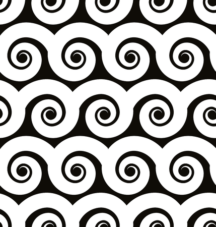 single coil: Spiral lines seamless pattern, black and white vector background.
