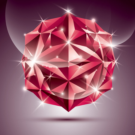dazzling: 3D red shiny disco ball. fractal dazzling abstract illustration jewel. Gala theme. Fantastic object.