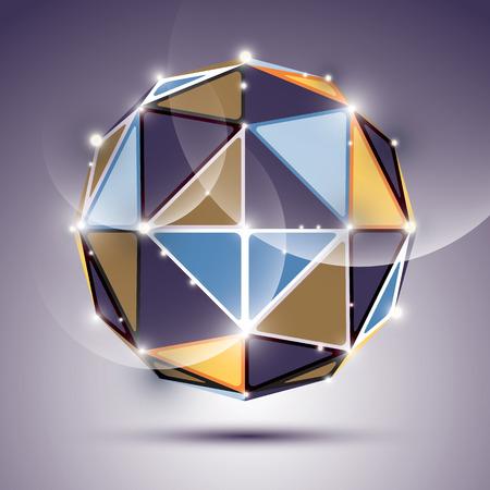 Résumé 3D facette sphère festive avec des brillants, lumineux boule miroir de scintillement créé à partir de triangles, thème disco. Vecteurs
