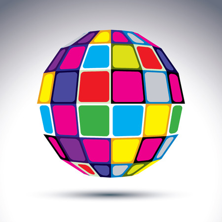 fraction: dimensional modern abstract object, 3d disco ball. Psychedelic vivid globe created with colorful squares. Illustration