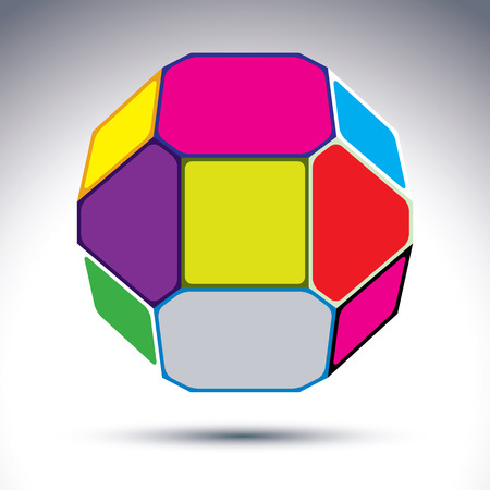 constructed: Abstract complicated 3d ball with jewels effect. Bright sphere constructed from dazzling geometric elements rectangles, triangles and pentagons.