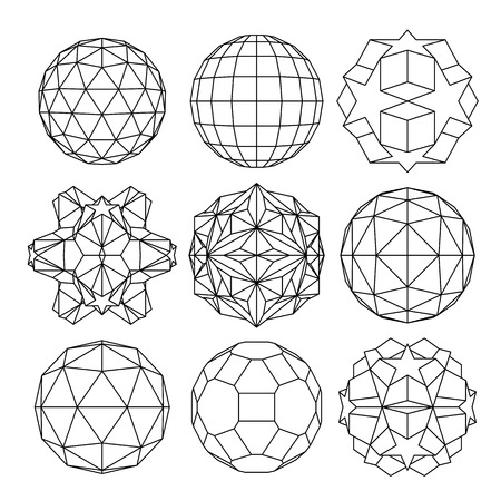 Collection of 9 black and white complex dimensional spheres and abstract geometric figures. Set of fractal 3D monochrome symbolic objects. Vector