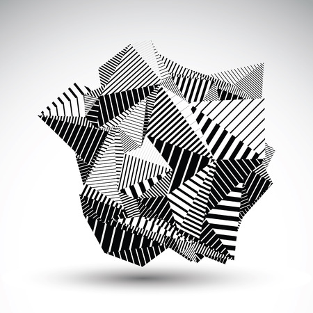multifaceted: Decorative complicated unusual figure constructed from triangles with parallel black lines. Striped multifaceted asymmetric contrast element, monochrome illustration for technology projects.