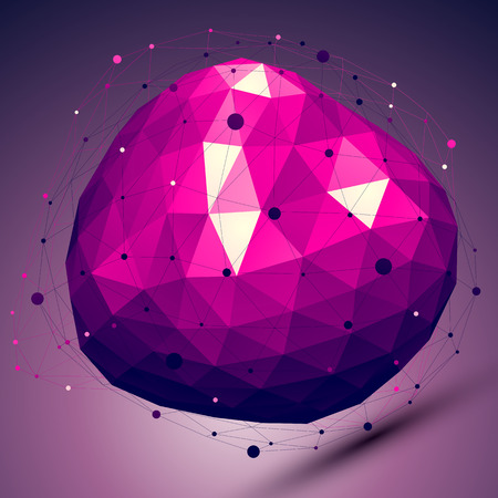 deformed: Purple geometric abstract 3D complicated lattice backdrop, lilac deformed conceptual gemstone illustration.