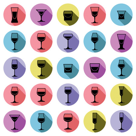 revelry: Classic goblets collection – martini, wineglass, cognac and whiskey. Alcohol theme illustrations. Lifestyle graphic design elements, set of simple glasses.
