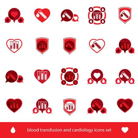 donacion de organos: Cardiolog�a y de transfusi�n de sangre iconos conjunto, s�mbolos creativos para tema m�dico, colecci�n.