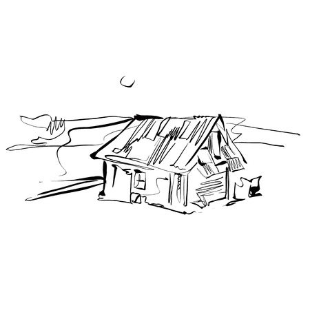 country house: Black and white hand drawn house, illustrated country house.