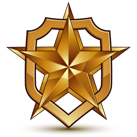 golden star: 3d heraldic template with pentagonal golden star, dimensional royal geometric medallion isolated on white background
