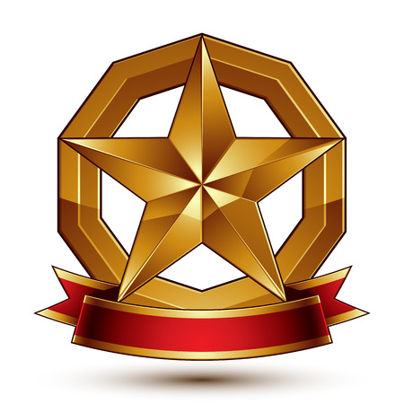 Branded golden symbol with stylized pentagonal glossy star and red decorative curvy ribbon, best for use in web and graphic design. Refined icon placed in a circle. Sophisticated gold ring isolated on white background.