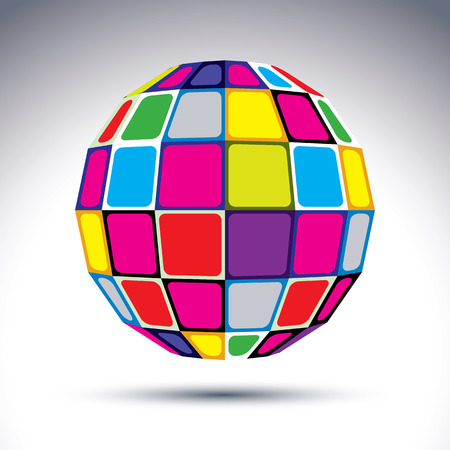 dazzling: dimensional modern abstract object, multicolored 3d disco ball. Psychedelic vivid globe created with colorful squares.