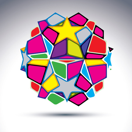 dazzling: abstract complex 3d orb, kaleidoscope. Bright sphere created from dazzling geometric elements %u2013 rectangles, triangles, stars and cubes.