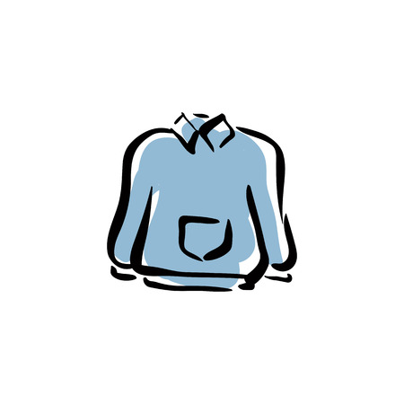 Illustrated blue sweater for men, isolated hand drawn clothing. Vector