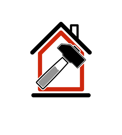 simple house: Classic mallet icon, industrial utensil. Simple house with work tools – workshop. Home reconstruction idea, for use in web and graphic design.