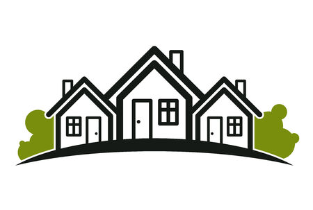 touristic: Colorful holiday houses illustration, home image with horizon line. Touristic and real estate creative emblem – cottages front view.