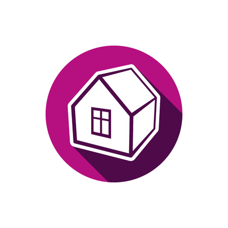 depiction: Real estate icon isolated on white, abstract house depiction. Property developer symbol, conceptual sign, best for use in advertising and as corporate brand for building icon.