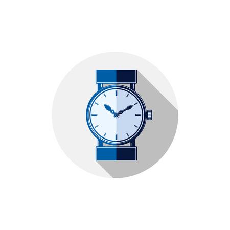 계시기: 세련된 손목 시계 그림, 다이얼과 시침 우아한 시계. 기업 디자인의 상징 또는 웹 요소입니다.