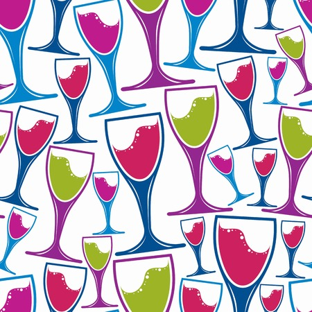 glass half full: Winery theme seamless pattern, decorative stylish wine goblets. Wine tasting conceptual symbols, continual background for graphic design.