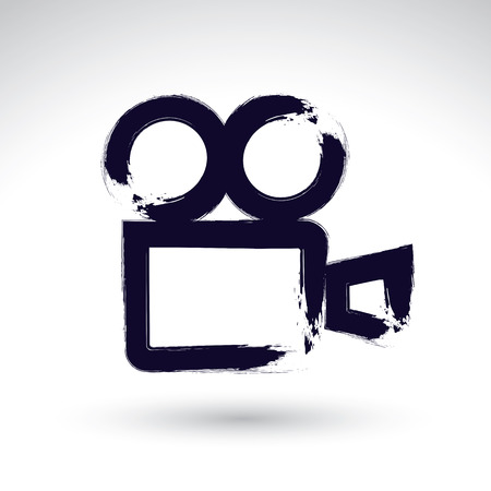 videotape: Realistic ink hand drawn video camera icon, simple hand-painted camera symbol, isolated on white background.