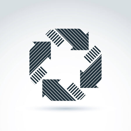 parallel: Loop sign, circulation and rotation icon. abstract design element with parallel stripes. Corporate geometric symbol. Illustration