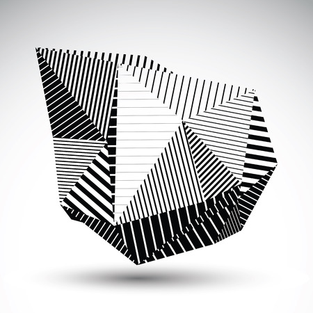multifaceted: Decorative distorted element with parallel black lines. Multifaceted asymmetric contrast stencil element. Illustration