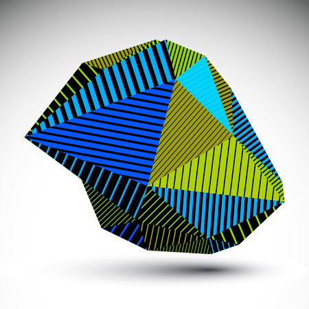 misshapen: Multifaceted asymmetric contrast figure with parallel lines. Striped colorful misshapen abstract object constructed from graffiti triangles. Bright stencil element. Illustration