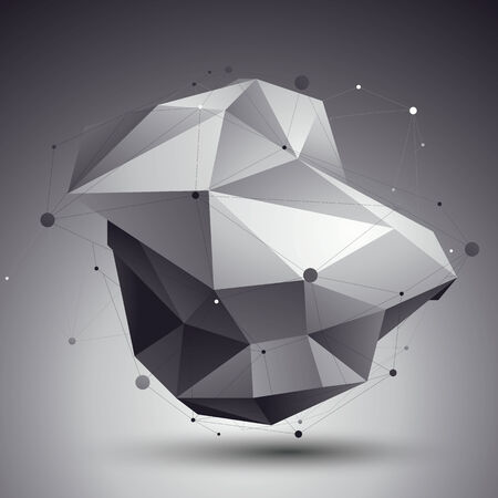 complicated: 3D abstract design template, polygonal complicated contrast figure with lines mesh placed over dark background.