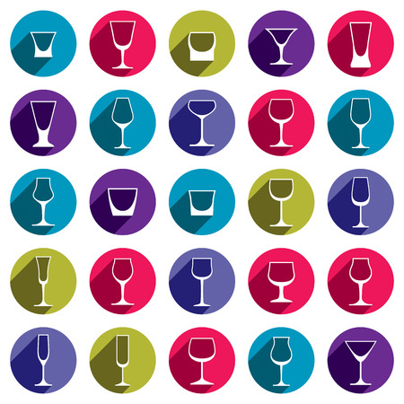 glass half full: Drinking glasses collection – martini, wineglass, cognac, whiskey and champagne. Alcohol theme simple illustrations, lifestyle design elements. Different goblets. Illustration