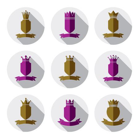 coronet: Decorative colorful coat of arms, protection theme symbols. Heraldry, stylish award design elements. Illustration