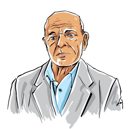 Dibujado a mano anciano ilustración sobre fondo blanco, persona de pelo gris.