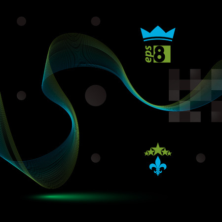 unwind: Dimensional flowing stripy ribbon, dreamy futuristic background with royal elements, stars and crown.