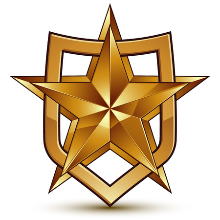 golden star: Branded golden geometric symbol, stylized golden star, best for use in web and graphic design, corporate icon isolated on white background.