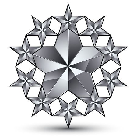 glamorous: Glamorous rounded template with pentagonal silvery stars, best for use in web and graphic design. Conceptual gray 3d heraldic icon.