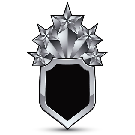 awarded: Sophisticated blazon with five silver stars, silvery 3d design element. Illustration