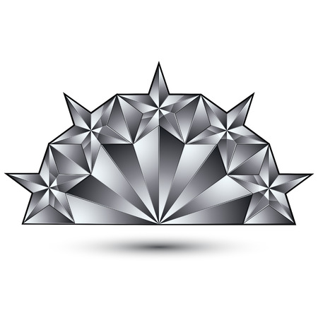 silvery: Glamorous template with pentagonal silvery stars, best for use in web and graphic design. Conceptual gray 3d heraldic icon. Illustration