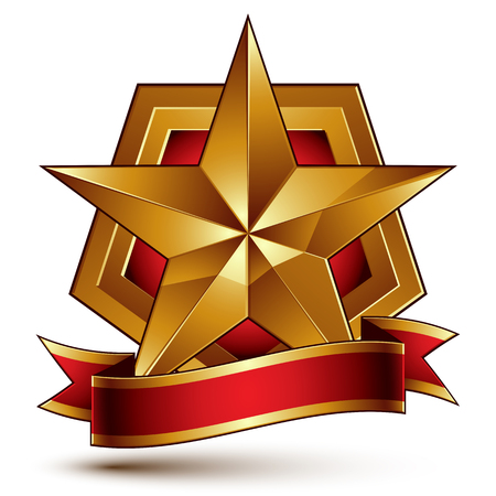 blazon: 3d golden heraldic blazon with red filling and glossy pentagonal star, best for web and graphic design. Decorative coat of arms with red wavy ribbon, defense symbol. Illustration
