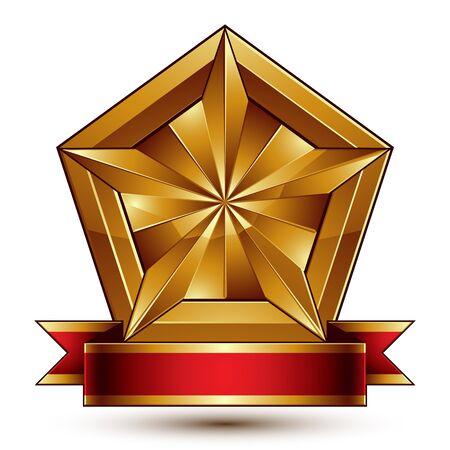glorioso: gloriosa elemento brilhante design, luxo 3d estrela dourada pentagonal colocado em um blazon decorativo, revestimento gr�fico conceitual de bra�os com fita vermelha ondulada. Ilustra��o