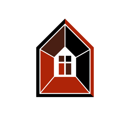 depiction: Property developer conceptual business icon. Building modeling and engineering projects abstract symbol. Simple house depiction.