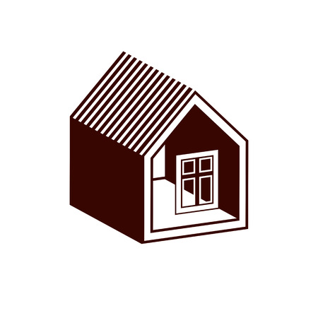 depiction: Property developer conceptual business icon. Building modeling and engineering projects abstract symbol. Simple house depiction – front view.