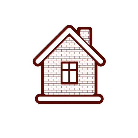 depiction: Simple village mansion icon, abstract house depiction. Country house, conceptual sign best for use in graphic and web design.