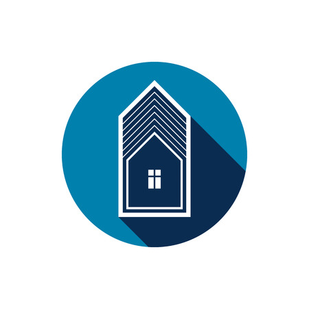 depiction: Real estate icon isolated on white, abstract house depiction. Property developer symbol, conceptual sign.