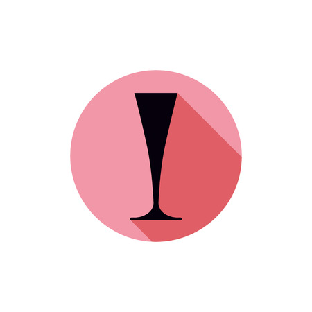 Alcohol theme icon, champagne goblet placed in a circle. Colorful restaurant brand emblem. Illustration