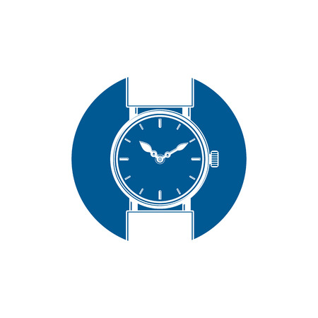 hour hand: Simple wristwatch graphic illustration, classic hour hand symbol. Time management idea design element Illustration