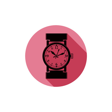 timepiece: Stylish wristwatch illustration, elegant timepiece with dial and an hour hand. Corporate design emblem or web element. Illustration